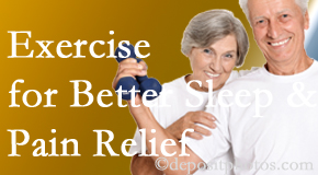 Moses Chiropractic incorporates the suggestion to exercise into its treatment plans for chronic back pain sufferers as it improves sleep and pain relief.