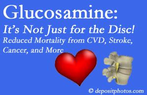 West Palm Beach health benefits from glucosamine use include reduced overall early mortality and mortality from cardiovascular issues.